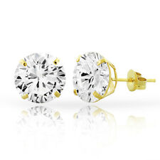 14kt Solid Yellow Gold Super Bright Clear CZ Studs Earrings Basket Setting Round