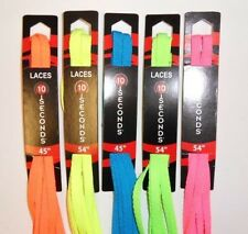 """10-Seconds New Balance Flat Athletic Shoelaces 5-Neon Colors 45"""" 54"""" Made in USA"""