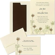 Rustic Ivory Green Brown Floral Baby's Breath Wedding Invitation RSVP Kit DIY