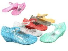 Women's Summer Jelly Sandals Heels Hollow Strap Fairy Style Bling Glittery Shoes
