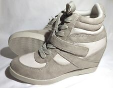 New Xhilaration High Top Sneaker Wedge Lace up Velcro tennis Shoes Beige