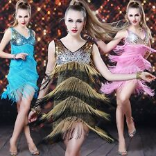 Evening Cocktail Party Prom Latin Cha Cha Sequins Fringes Dance Dress Club 1326