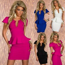 Office Lady Peplum Bodycon Ruffled Tunic Sexy Pearline Prom Party Pencil Dress