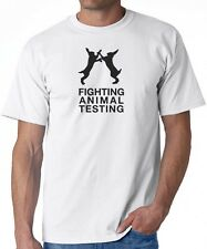 White T-SHIRT Fighting ANIMAL TESTING lush peta rights animals