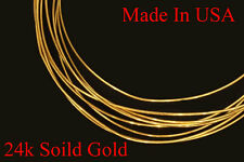 "24k solid yellow round gold wire  6"" -  gauge 30 -  18 gauges USA Seller"