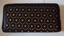 LADIES LASER CUT PURSE/WALLET BLACK SYNTHETIC LEATHER ZIP AROUND BNWT