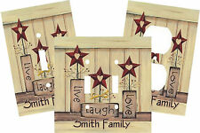 PERSONALIZED LIVE LAUGH LOVE PRIMITIVE HEART STAR LIGHT SWITCH PLATE COVER