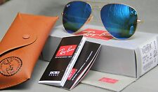 Geunine Ray Ban Aviator RB3025 112/17 all size Gold Frame Blue Mirror Unisex