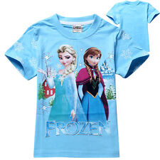 New 2-8Y Girls Clothing Kids Toddler Tops T-Shirt Disney Frozen Queen Elsa Anna