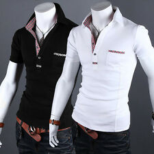 New Men's Dot Print Splice Pocket Short Sleeve Slim Fit T-Shirt Casual Worwear M