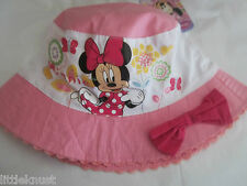 DISNEY MINNIE MOUSE Licensed Girl bucket hat cotton pink w bow BNWT ages 2-4