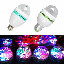 E27 3W G80 G60 Colorful Rotating RGB 3 LED Light Bulb Lamp Stage Disco KTV Party