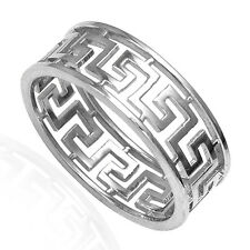 Men's 14k Solid White Gold Greek Key Ring SIZE 8 TO 15 #R1867