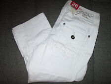 WOMENS O NEILL 3/4 LENGTH DENIM JEANS SHORTS TROUSERS CAPRI WHITE UK 6/8 BNWT