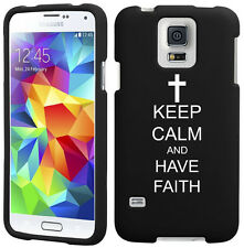 For Samsung Galaxy S4 S5 Rubber Hard Case Cover Keep Calm Have Faith Cross