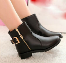 hot Women's black buckle strap Chunky Heels Zipper flat shoes Motorcycle boots