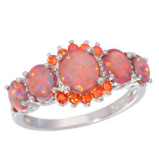 Orange Fire Opal Garnet Women Jewelry Gemstone Silver Ring #7 / #8 / #9 OJ4576