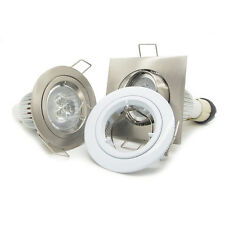 10x 9W GU10 Recessed LED Downlight Kit ceiling down spot light white & chrome