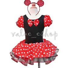 Toddlers Baby Girls Minnie Mouse Halloween Xmas Costume Tutu Dress + Ears 2T-10