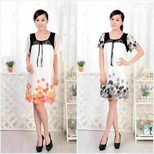 Pregant Women Short Sleeve Maternity Dress Casual Sleepwear Bow Splice Dress M