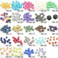 10pcs Resin Rhinestones Crystal Round Spacer Beads 3sizes&13colors