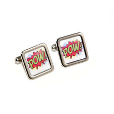 Stag Do Pow Comic Book Cartoon Superheroes Cufflinks with Personalised Engraved