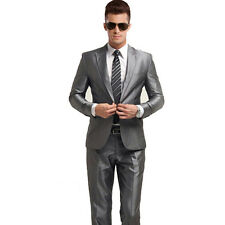 Mens One Button Wedding Dress Formal Business Slim Fit Silver Suits Jacket Pants