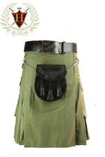 Mens Utility Kilt Cotton Olive Kilt Military Highland Gothic Formal & Everyday