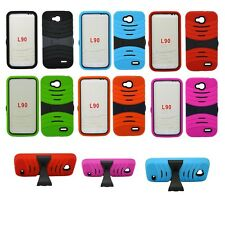 For LG L90 Heavy Duty Rugged Impact Hybrid Case Cover W Kickstand