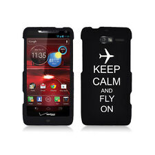 For Motorola Droid Razr M XT907 Rubber Hard Case Cover Keep Calm Fly On Airplane