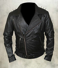Ghost Rider Mens Black Biker Motorcycle Cruise Fashion Real Cow Leather Jacket