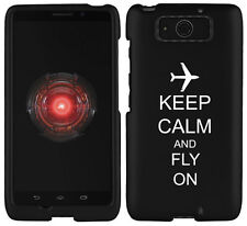 For Motorola Droid MAXX / ULTRA Rubber Hard Case Cover Keep Calm Fly On Airplane