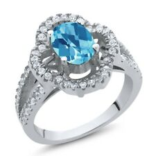 1.67 Ct Oval Checkerboard Swiss Blue Topaz 925 Sterling Silver Ring