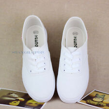 Women/Lady Low Top Sneakers Trainers Shoes Canvas Plimsoll Pump Skate White New