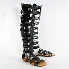 Open Toe Strappy Gladiator Knee High Flat Sandal BLACK