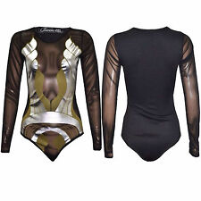 Women Ladies Long Sleeve Celeb Paris Hilton Foil Print Swim Sexy Bodysuit Top