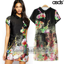 New Europe Women Chinese Painting Lapel Floral Tunic Cocktail Party Dress 13869