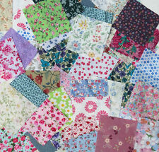 Floral fabric patchwork squares 4 x 4 ins (10cms) Packs of 25 or 50.Great value!