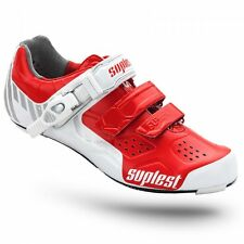 Suplest Street Racing Carbon Buckle Cycling Shoes - White/Red