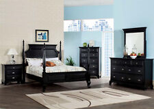 King/Queen/Twin Bed Size Furniture Set 4Pc Bedroom Set w/ Multidrawers in Black