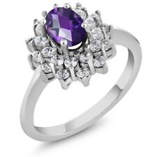 1.35 Ct Oval Checkerboard Natural Purple Amethyst 925 Sterling Silver Ring