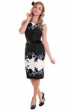 NEW LAURA ASHLEY BLACK WHITE FLORAL BELTED PENCIL DRESS SIZE 8 10 12 14 16 18