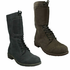 LADIES SPOT ON LACE UP MID CALF BOOTS - L8616 - IN BLACK PU AND COFFEE PU