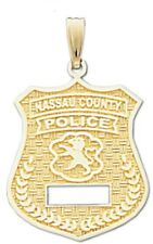 New 10k or 14k Yellow Gold Nassau County Police Officer Pendant Charm