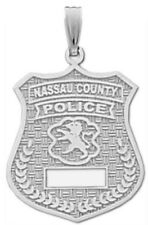 New 0.925 Sterling Silver Nassau County Police Officer Pendant Charm