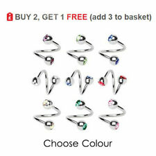 Body Spiral Twister Twisted Barbell 3mm Crystal Ball Surgical Steel Ear Helix