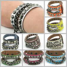 UH011 Rock Black Steel Mixed Stud w/ Chain Real Leather Bracelet Wristband Punk