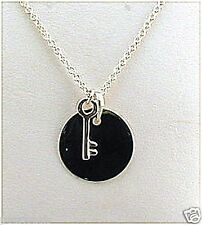 "Key Charm & Round Monogram Initial Pendant w/Chain, 16"", Sterling Silver, NEW"