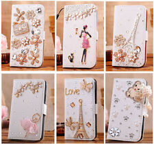 Luxury 3D Bling Crystal Flip Wallet PU Leather Case Cover Fo Nokia Lumia 630 635