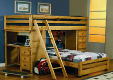 Multifunctional Twin Bunk Bed Computer Desk Chest Drawers Shelves Book Case Ladd